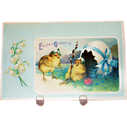 International Art Publishers.: Easter Greeting: Mr. & Mrs. Chick Postcard - Marked