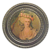 SALE Round Pewter Powder Box With Renaissance Lady Design On Top