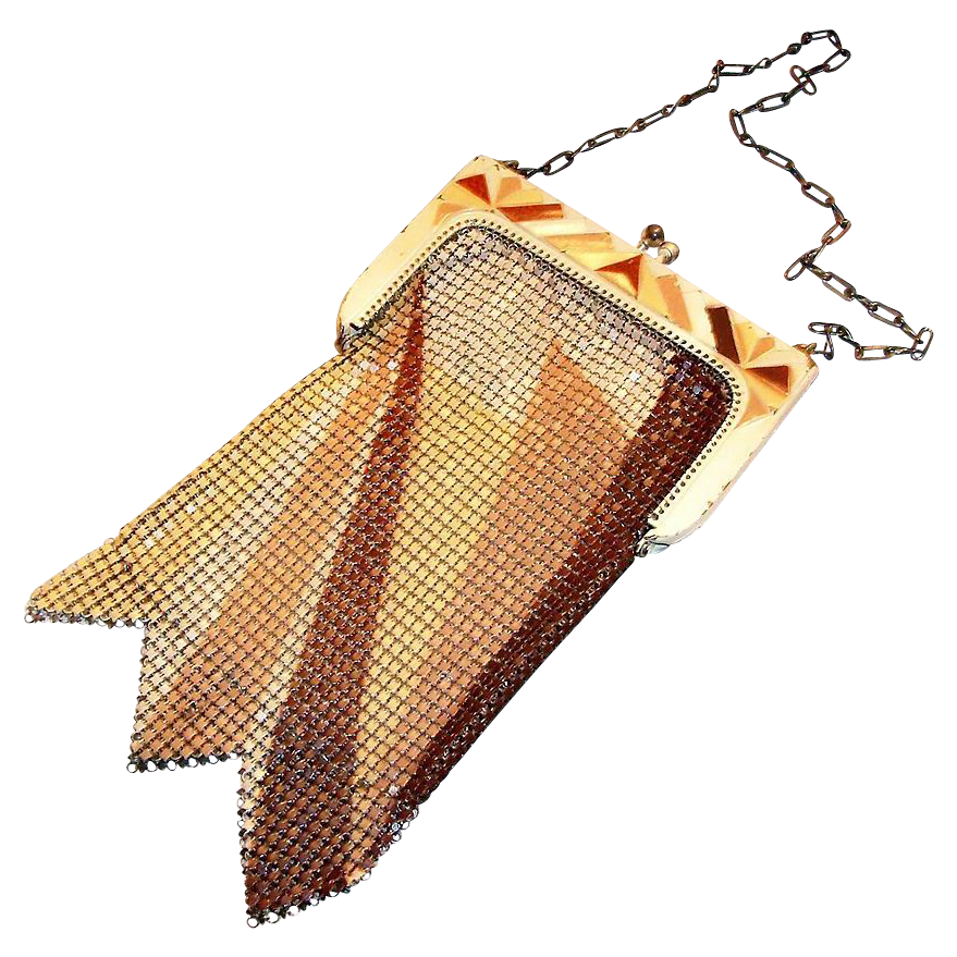 Whiting & Davis Art Deco Geometric Design Mesh Purse - Marked