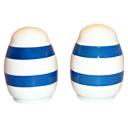 SALE Blue Stripes on Off White Porcelain Salt & Pepper Set