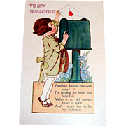 Vintage Valentine Postcard:  Children: To My Valentine
