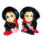 Cute Handpainted Underglaze Porcelain Lady Bug Salt & Pepper Set - Marked