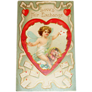 Vintage Valentine Postcard - Love's Fair Exchange - Germany
