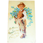 Boy with Forget Me Not Flowers New Year  Postcard - Marked