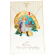 A Hearty New Year Greeting Postcard - Marked