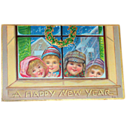 A Happy New Year Children At Window Postcard