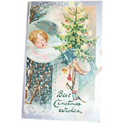 Tuck: Best Christmas Wishes Postcard - Marked