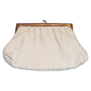 Whiting & Davis Off-White Small Mesh Clutch Purse - Marked