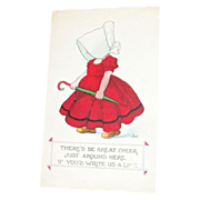 Darling Amish Girl Drop Us A Line Postcard Signed Walls