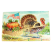 ABS: Thanksgiving Greetings: Turkey Pulling Pumpkin in Cart Postcard