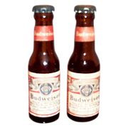 Advertising: Budweiser Glass Bottle Salt & Pepper Set with Original Labels