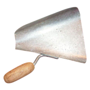 Old Galvanized Side Scoop with Wooden Handle