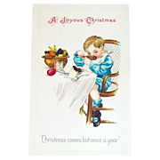 &quot;A Joyous Christmas&quot;  Comes But Once A Year Postcard