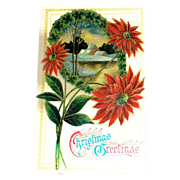 &quot;Christmas Greetings&quot; Poinsettias & Winter Scene Postcard