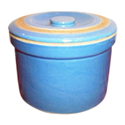 Blue Stoneware Covered Butter Crock