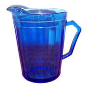 Cobalt Blue Vertical Ribbed Design Glass Creamer