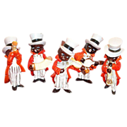 Black Americana: 5 Piece Handpainted Porcelain Musician Figurines Band - Marked