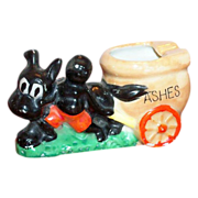 Black Americana: Boy & Dog Pulling Cart Ashtray - Marked