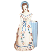 California Pottery: Weil: 1940s Country Girl Flower Holder Figurine