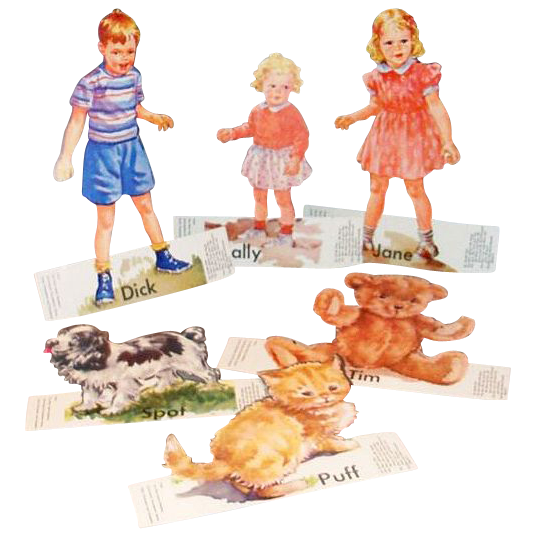 The New Basic Readers: 1960s Dick, Jane & Friends Cardboard Teacher's Tools - Marked