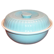 "Hall China & Forman Family Products ""Ribbed Buffet"" Blue Stoneware Casserole - Marke"