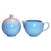 Vernonware: Modern California Azure Blue Stoneware Sugar & Creamer Set - Marked