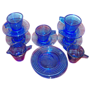 Children's 15 Piece  Cobalt Blue Glass Toy Dishes