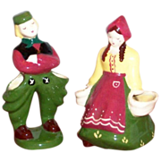 Pair of Hand Painted Underglaze Pottery Dutch Couple Figurine Planters