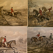 Set of  Fore's Hunting Sketches Prints, The Right Way and the Wrong Way
