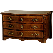 REDUCED Miniature Walnut Biedermeier Chest w. Secret Drawers.