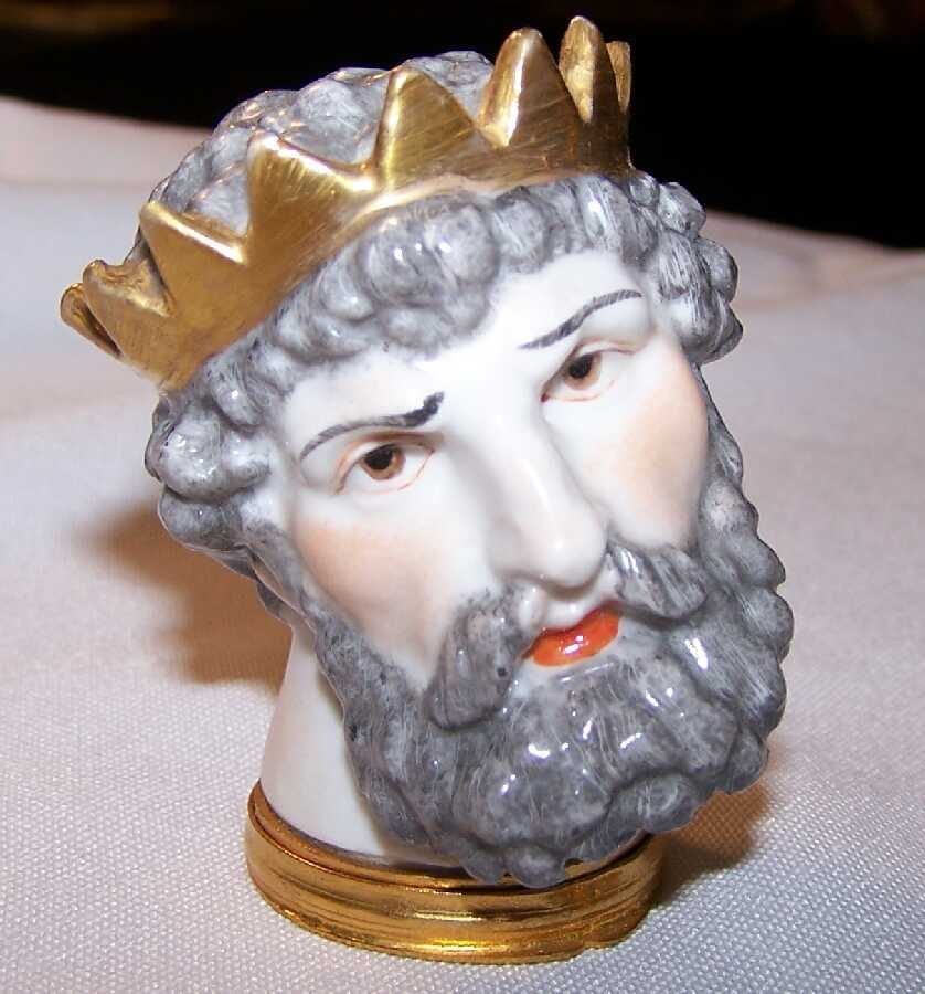 Rare 1850 French Figural King Crown Porcelain Bust Snuff Box-Very Unusual!!!