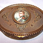 SALE-Painting on Ivory bronze box with Napoleon