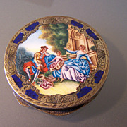Lovely silver and Enamel Compact!!!