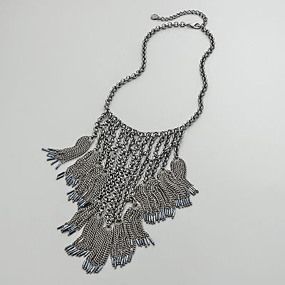 Simply Vera Wang Chain Link Bib Necklace w/Blue Tipped Beaded Fringe  from thecontemporarytabletop on Ruby Plaza :  simply vera wang chain link bib necklace wblue tipped beaded fringe new necklaces jewelry simply vera vera wang