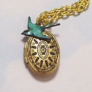 Vintage Art Deco Style Black Patina Brass Locket Necklace, Blue Bird Charm