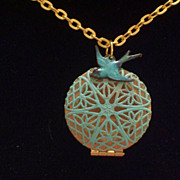 Vintage Aqua Turquoise Patina Brass Filigree Bird Nest Locket Necklace, Blue Bird Charm