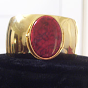 REDUCED Rare Vintage Princess Marcella Borghese Perfume Locket, Red Jasper Gold Plated Wide Cu