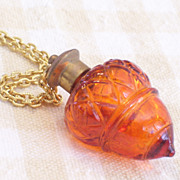 REDUCED Rare Vintage Amber Glass Acorn Brass Perfume Vial Pendant Necklace