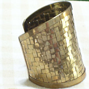 Huge Vintage Brass Basketweave Woven Cuff Bracelet