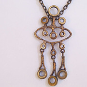 Vintage Scandinavian Style Brutalist Modernist Abstract Brass Pendant Necklace