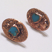 Rare Vintage BELL Copper Genuine Turquoise Chunk Pierced Post Oval Earrings Original Card