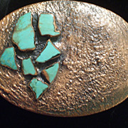 Rare Vintage BELL Copper Turquoise Chunk Unisex Huge Oval Belt Buckle