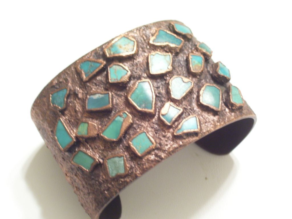 Rare Huge Vintage BELL Copper Turquoise Chunk Cuff Bracelet