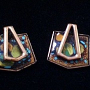 SALE Rare Vintage MATISSE Copper Enamel Modernist Geometric Clip Earrings