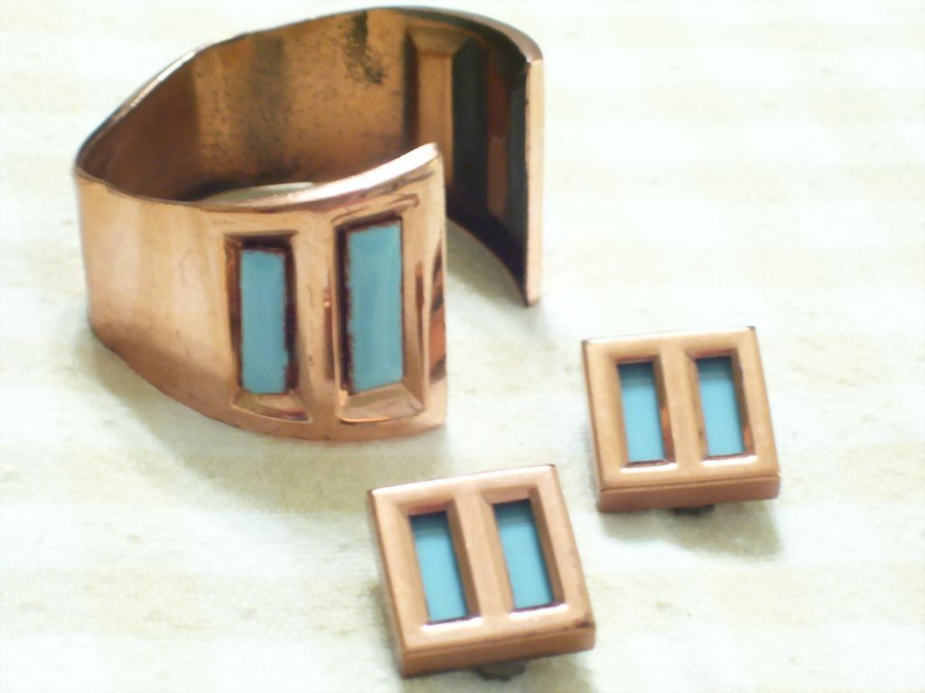 Rare Vintage MATISSE Aqua Enamel Copper CHILE Modernist Reverse Cuff Bracelet & Clip Earrings Set