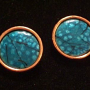 Chunky Vintage MATISSE RENOIR Copper Turquoise Black Enamel Clip Earrings