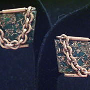 REDUCED Rare Vintage MATISSE Copper Green Enamel TEXTURA Clip Earrings