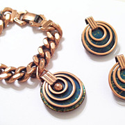 REDUCED Rare MATISSE Enamel Copper SATURN Chunky Charm Bracelet & Clip Earrings Set