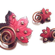Vintage MATISSE RENOIR Red and Black Enamel Copper Leaf Pin and Clip Earrings Set