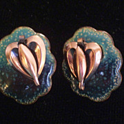 Rare Vintage MATISSE Teal and Black Enamel Copper QUEEN ANNE Screwback Earrings